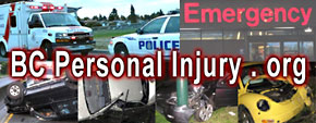 BC personal injury & ICBC claims lawyers - photos of car accidents, ambulances & police cars, &  VGH hospital  emergency entrance - Click to Metro Vancouver personal injury lawyers directory
