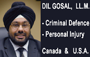 Dil Gosal,, JD LLM experienced personal injury and criminal defense lawyer, fluent in PUnjabi, serves Surrey and Metro Vancouver