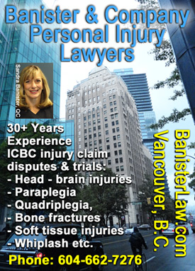 Photo of Sandra Banister, QC Queens Counsel, with Marine Building where her office is located on Burrard St., , has 30plust years personal injury and employment law experience  CLICK TO HER WEBSITE